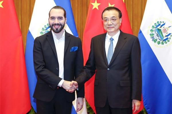 Premier Li meets El Salvador president:null